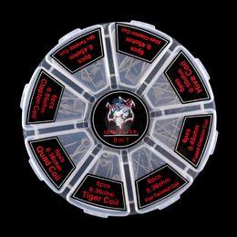Iblis Katil Prebuilt Bobin Kiti 8 1 Quad Hive Twisted Düz Sigortalı Clapton Bobin Organik Pamuk fit Atomizer 48 adet Bir Kutu