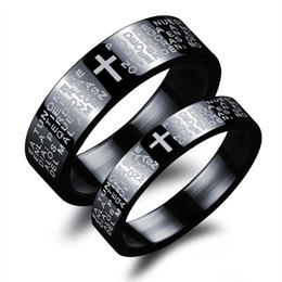 steel prayer ring Canada - His and Her Matching Titanium Steel Lovers Promise Ring Black Cross and Lord's Prayer Beveled Edge Band Ring Couple Wedding Bands