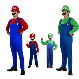 Barato Super Mario Bros Cosplay Costume-Cosplay Adultos e Crianças Super Mario Bros Cosplay Dance Costume Set Children Halloween Party MARIO LUIGI Traje para Presentes Infantis