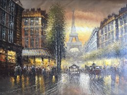 $enCountryForm.capitalKeyWord NZ - Framed Free Shipping,Eiffel Tower,Romantic Paris Street City VIEWS,Hand Painted Landscape Art Oil Painting Canvas.Multi Sizes Available DH