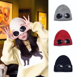 Windproof glasses online shopping - Winter Wool Knitted Windproof Glasses Hat Women Beanies Crochet Hats Winter Gorros Ski Cap Plush Lined Glass Hats LJJO3691