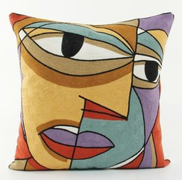 $enCountryForm.capitalKeyWord UK - European Vintage Style Embroidery Cushion Cover Pablo Picasso Paintings Face Embroidered Cushion Covers Sofa Throw Decorative Pillow Case