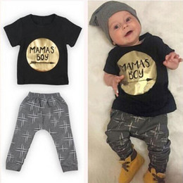Barato Baby Set Top-Hot Sale 2pcs Newborn Infant Baby Boys Kid Moda Roupa Vestuário T-shirt Top + Pants Outfits Set Baby Boy Clothing Set