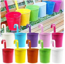 Wholesale 4 quot Inch Metal Iron Flower Pot Bucket Hanging Balcony Garden Plant Planter Colors Home Decor Supplies Charming E498E