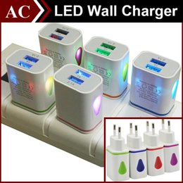 Light waLL charger duaL usb online shopping - Light Up Water drop LED Dual USB Ports Home Travel Power Adapter V A A AC US EU Plug Wall Charger For iPhone Samsung HTC LG Tablet