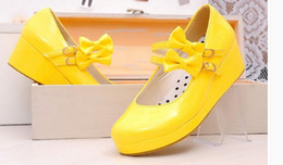 Wholesale rubber maid resale online - Cosplay shoes princess Lolita maid Lolita documentary shoes big bowknot platform slope yards shoes