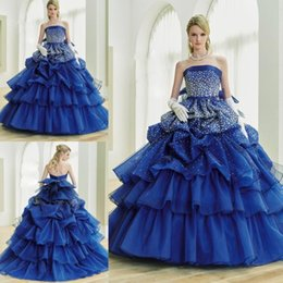 Barato Vestido De Lavanda Sem Alças-Royal Blue Strapless Vestidos de baile de máscaras 2017 Luxury Cathedral Train Flowers Quinceanera Vestidos Vestidos de baile Sweety Girls 16 Years Dress