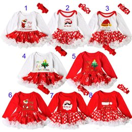 Baby Romper Girls Dresses Canada - Baby girls INS Christmas Rompers lace dress children Long sleeve romper +Bows headbands 2pcs sets baby Xmas pattern Santa Claus clothes