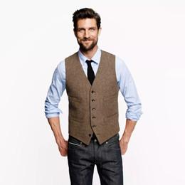 Polyester Vest Pockets For Men Canada - 2017 Vintage Brown Tweed Vests Farm Wedding Groom Vests Custom Mens Suit Vest Slim Fit Wedding Vest For Men Formal Waistcoat Men Plus Size