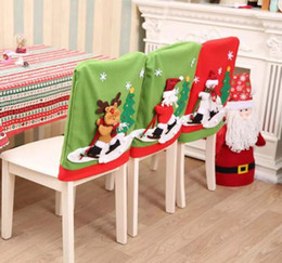 2018 Christmas Chair Cover Skidding Santa Claus Snowman Back Elk Ski Dinner Table Party Decor Ornaments Gifts