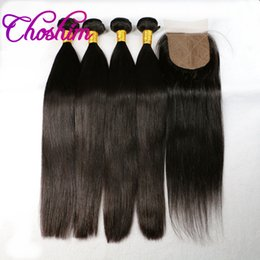 Wholesale Choshim Peruvian Silk Base Closure With Bundles Peruvian Straight Virgin Hair With Silk Closure Human Hair Bundle With Silk Closure