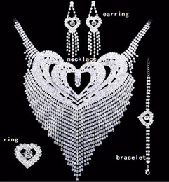 Discount bridal set ring - Bridal jewelry sets Crystal Wedding Earrings Necklace rings bracelet Accessories one set include four pcs luxury fashion