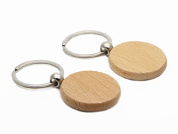 "wholesale keychains cheap NZ - 1.57"" Blank Key Chain Cheap Keychain Personalized Custom Name keyring Wood key ring KW01Y FREE SHIPPING"