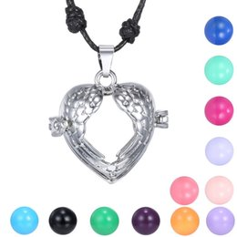 chain hollow snake silver NZ - Pregnancy Ball Bola Chime Necklacel hollow Pendant necklace heart shape necklace with rope chain necklace plated with white gold