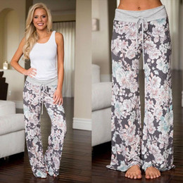 Wide Legged Yoga Pants Canada - S-3XL Women Casual Fashion Floral Print Print Drawstring Wide Leg Palazzo Pants Ladies Loose YOGA Pajama Trousers