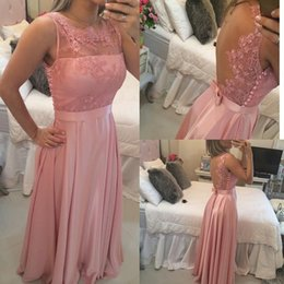 Los Vestidos Del Baile De Fin De Curso De La Malla Baratos-Blush Pink Prom Dresses 2017 Gasa Vintage Vintage Encaje Appliques Una línea Sheer Jewel Mesh Back Perlas y Bow Sash Dress Party Evening