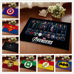 12 Desighs Flannel Cartoon Anti Skid Carpet 40*60cm Superhero Doormat  Animation Hero Bedroom Carpet Avengers Mats Cartoon Door Rug LA198 1