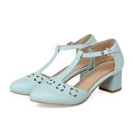 e0101153201 women T-strap pumps block medium heels round toe mary janes leather ankle retro  vintage shoes
