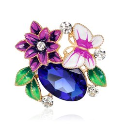 red flower brooch large 2019 - Fashion Brand Enamel Flower & Butterfly Brooch Pins Vintage Large Crystal Rhinestones Bead Brooches for Women Wedding Je
