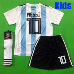$enCountryForm.capitalKeyWord NZ - Argentina KIDS KIT Soccer Jersey 2018 Argentina boys youth kits DYBALA Messi Aguero Di Maria Child football soccer shirt uniform with socks