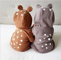Barato Macacões Bonitos Dos Miúdos-Vestuário para crianças Newborn Baby Dots Rompers Toddler Fashion Hooded Jumpsuits 2017 Infant Kids Autumn Cute Romper bebês roupas