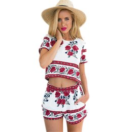 f10871c54132 2016042913 2016 Women Summer Floral Printed Playsuit Two Pieces Set  Rosemary Femme Jumpsuit and Rompers Short Sleeve Plus size