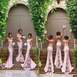 Spaghetti Strap Fitted Prom Dresses NZ - 2017 New Design Sexy Spaghetti Straps Mermaid Bridesmaid Dresses Appliqued Lace Appliqued Fitted Prom Dresses Country Wedding Party Dresses