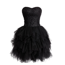 Barato Saia Preta De Renda-2016 lindo doce 16 vestido preto Homecoming Beaded Sequins Lace Top Ruffled Puffy Saia Lace-up do espartilho Voltar Strapless
