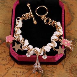 Flower pentagram online shopping - Bracelets for Women Fashion Eiffel Tower Pentagram Cards Pink Flower Chain Bangles Bracelets for Women Charm Bracelets