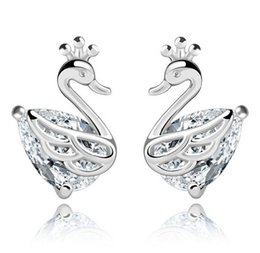 Chinese  Elegant Crystal Swan Stud Earrings Shinning Wedding Animal Ear Jewelry Women 30% 925 Sterling Silver Overlay Fashion Stud Earrings New Brand manufacturers