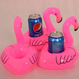 Inflatable Toys Animals Pvc Canada - Flamingo PVC Inflatable Drink Bottle Holder Lovely Pink Floating Bath Cola cup Holder Kids Toys Christmas Gift