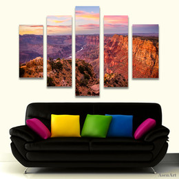 Mountain Decor NZ - 5 Panel Canvas Art Great Mountain Landscape Painting Sunset Scenery Canvas Printing Home Decor Picture for Living Room Frameless