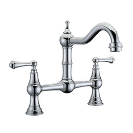 "kitchen tap two faucet UK - Free ship Deck-Mount solid Brass Two-Handle Two holes Chrome Bridge Kitchen Faucet Mixer tap 8 ""Holes distance"
