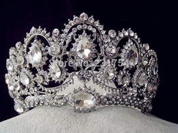 Discount accessories for quinceanera - Wholesale-Huge Crystal Tiara Vintage Peacock Bridal Hair Accessories For Wedding Quinceanera Tiaras And Crowns Pageant D
