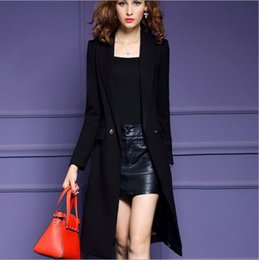 Barato Casaco De Trincheira Quente Para Mulheres-Black Long Trench Maxi Coat Winter Jacket Warm Womens Clothing Plus Size Tie Belt Coat