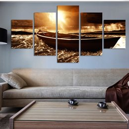 sunset seascape paintings Canada - 5 Panel Modern Prints Beach Seascape Sea Boat Sunset oil Painting Cuadros Wall Picture For Living Room(No Frame) home decor