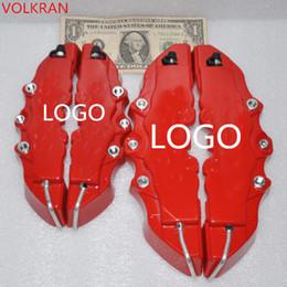 4Pcs RED 3D Задние крышки суппорта Тисненые Brem Fit Плоскогубцы покрышки Автомобильные универсальные дисковые тормозные суппорты Обложки Front Rear