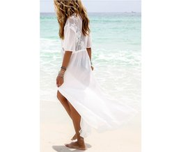 $enCountryForm.capitalKeyWord Australia - Fashion Pareo Beach Kaftan White Chiffon Lace Stitching Bikini Swimsuit Beach Cover Up Kimono Sexy Beachwear 9339