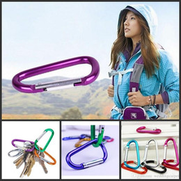 Snap Lock Key Chain Hook Canada - Carabiner Ring Keyrings Key Chain Outdoor Sports Camp Snap Clip Hook Keychains Hiking Aluminum Metal Stainless Steel Hiking Camping