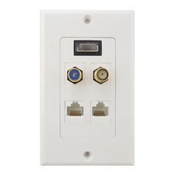 outlet hdmi Canada - HDMI+F+RCA+2* RJ45 LAN Network Female Audio Video Wall Plate Socket Outlet Face Panel 1080P HDTV 5 Ports White ABS