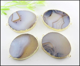 $enCountryForm.capitalKeyWord Australia - 3pcs Large Druzy Slab Agate Gemstone Connectors ,Gold Plated Edge Nature Druzy Agate Slice Connectors in Natural Color Jewelry Findings