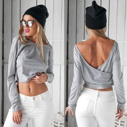 Cheap Hot Clothes NZ - Hot Sale Cotton New Style Women T Shirts Sexy Crossed Backless Long Sleeves Short Girl Top Casual Scoop Neck Cheap Women Clothing