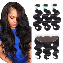 Unprocessed Wholesale Human Hair Australia - 8A Grade Unprocessed Peruvian Hair Bundles with Lace Frontal Body Wave 13*4 Hair Weaves Frontal Closure Wholesale Remy Human Hair Extensions