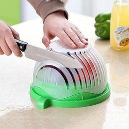 NEW 60 Seconds Salad Maker Bowl Cut Fruit Vegetables Cutter Bowl Creative  Kitchen Tools Big Large Plastic Mixing Set Adapter