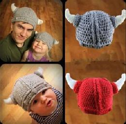 3fe318ac654 Boys Hat Horns NZ - Children Newborn Infant Toddler Hat Crochet Viking Horn  Animal Cosplay Skullies