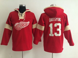 Cheap red wing jerseys online shopping - Youth Hockey Jersey Cheap Detroit Red Wings Hoodie Pavel Datsyuk Stitched Embroidery Logos Hoodies Sweatshirts Any Name and Number