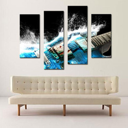4 Picture Combination Guitar In Blue And Waves Looks Beautiful Wall Art  Painting On Canvas Music Pictures For Home Decor Gift Part 49