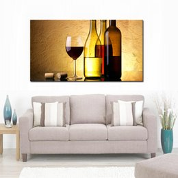 $enCountryForm.capitalKeyWord UK - Wine Paintings Wall Art a Cup of Wine and Wine Bottle with Some Grapes Picture Print on Canvas for Modern Home Decoration