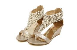 Gold wedGe flip flop sandals online shopping - Hot sandals Bohemian Qaulity Beads Pearls Low heels ladies flat gladiator sandal Flip Flops
