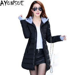 Barato Casacos De Algodão Senhoras Atacado-Atacado- AYUNSUE 2017 Wadded Jacket Feminino New Women's Winter Jacket Down Cotton Jacket Slim Parkas Ladies Coat Plus Size S-XL TP0514